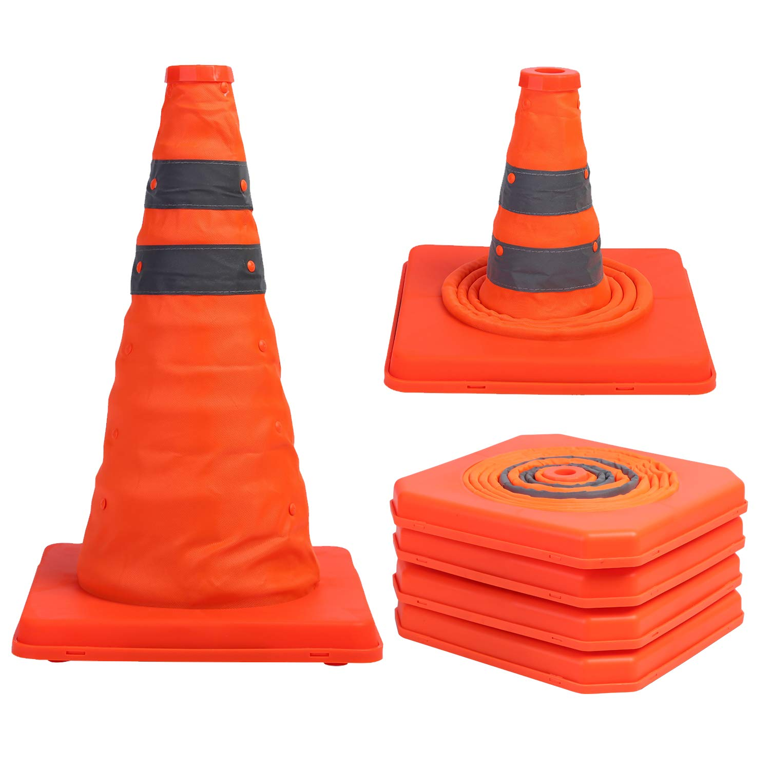 Sunnyglade 4 Pack 15.5 inch Collapsible Traffic Cones Multi Purpose Pop up Reflective Safety Cone (4), Orange by Sunnyglade