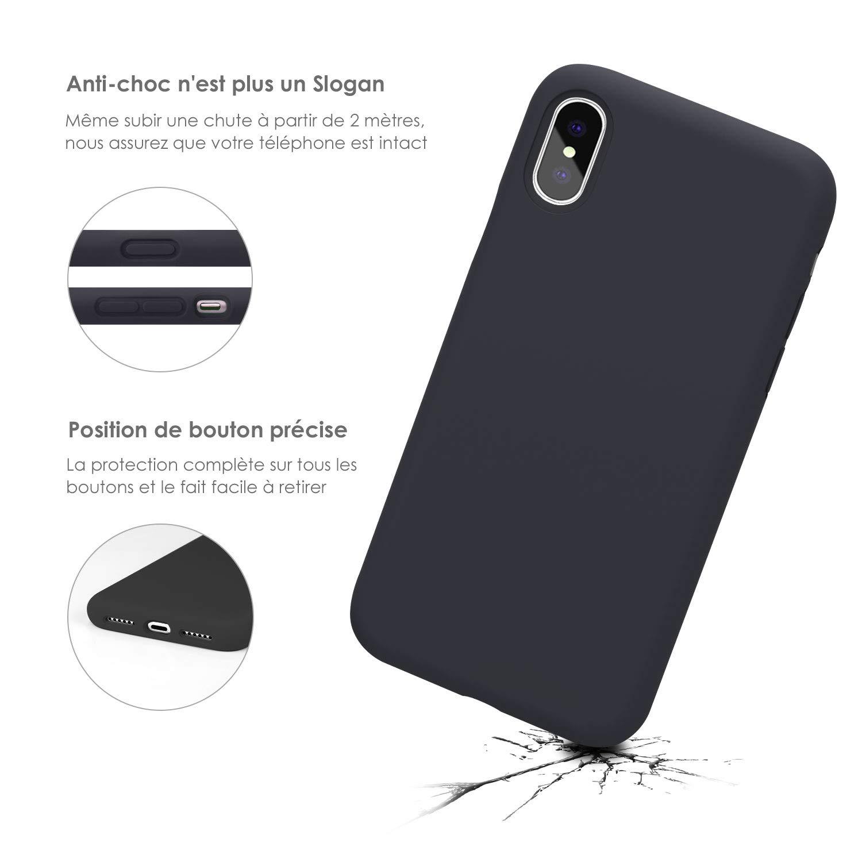 Coque iPhone X / 10 , JASBON Coque Silicone Liquide Anti-rayure avec Protecteur d\'écran Gratuit, Housse Protection Silicone Anti-choc Gel Case pour iPhone X / 10 – Noir