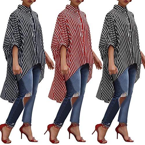 Colori Top Casual Nero Elecenty Camicie Lunga Manica Righe Donna E Bluse Da In A Camicia Tre Cotone qzxZfwSvq