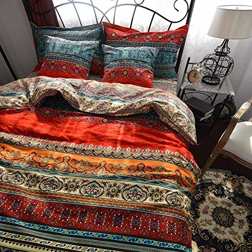 HNNSI Brushed Cotton Bohemian Duvet Cover and Fitted Sheet Set Queen Size 4 Pieces, Bohemia Exotic Striped Bedding Set, Boho Comforter Cover Sets,No Comforter(Fitted Sheet Set, (Cotton Brushed Comforter)