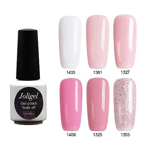 Joligel Set Esmaltes Uñas Gel Soak Off UV LED Manicura Pedicura Semipermanentes 6 Colores Conjunto 6pcs