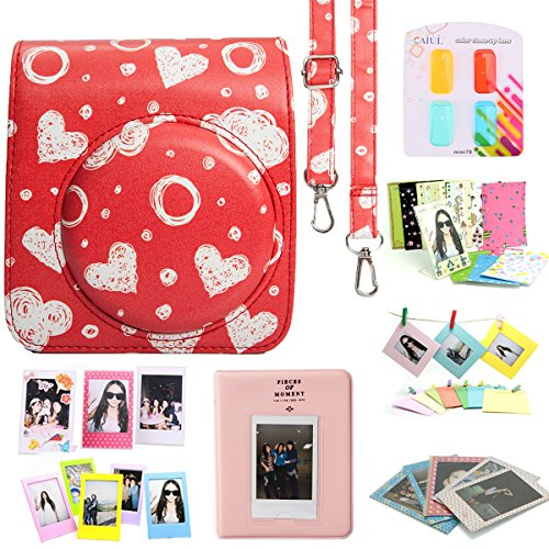 CAIUL Fujifilm Instax Mini 70 Case Accessories Bundle Red ( 8 Items )