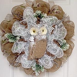 Winters Watch Snow Owl Handmade Deco Mesh Wreath 39