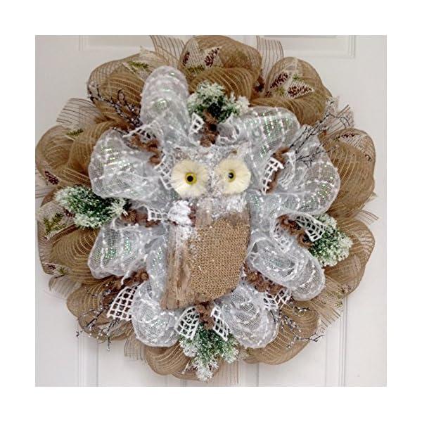 Winters Watch Snow Owl Handmade Deco Mesh Wreath