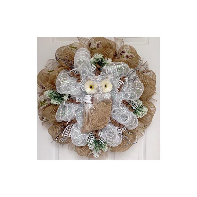 silk flower arrangements winters watch snow owl handmade deco mesh wreath