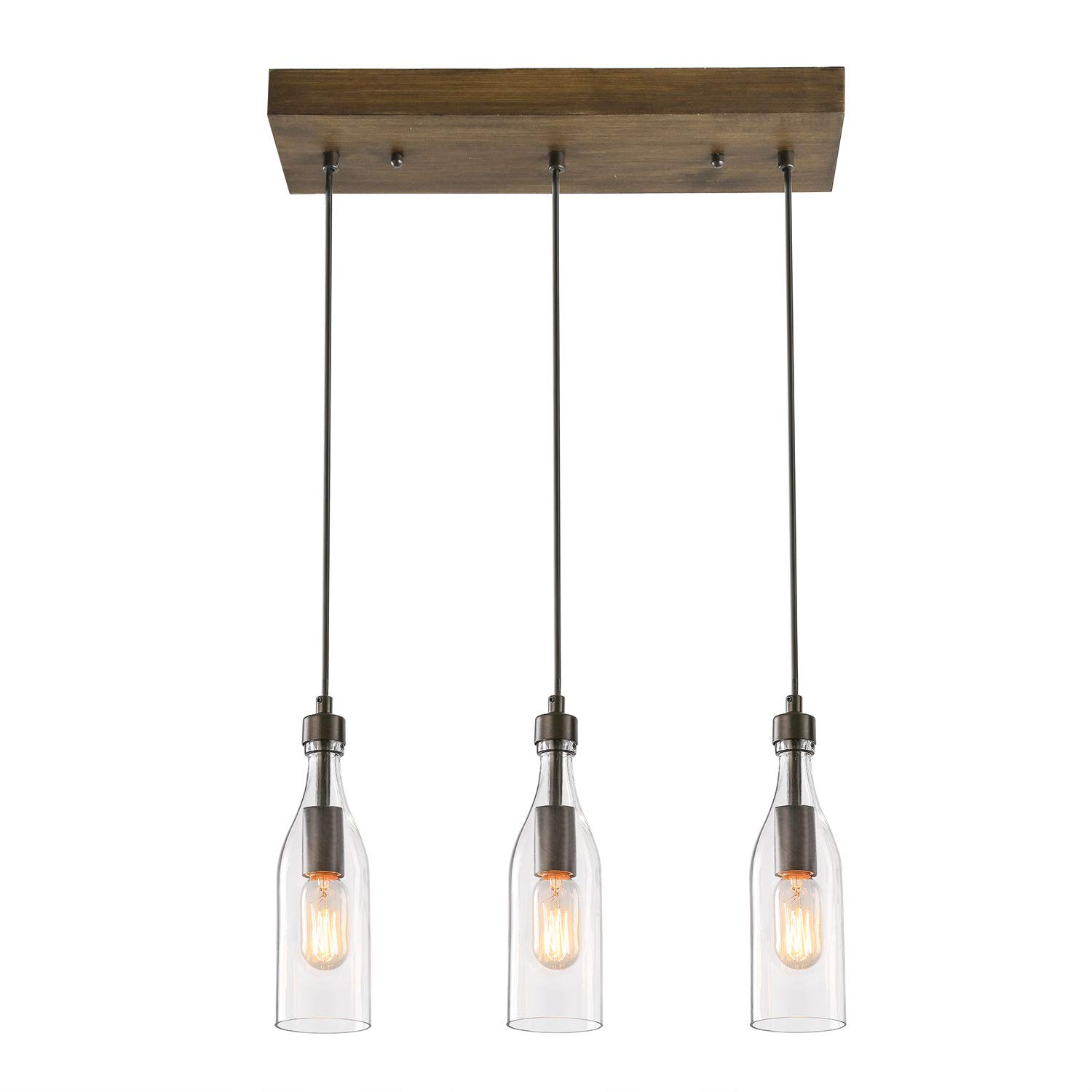 LNC A03491 Wooden Pendant Lights 3-Height Adjustable Farmhouse Chandelier for Kitchen Island and Dining Room, Brown