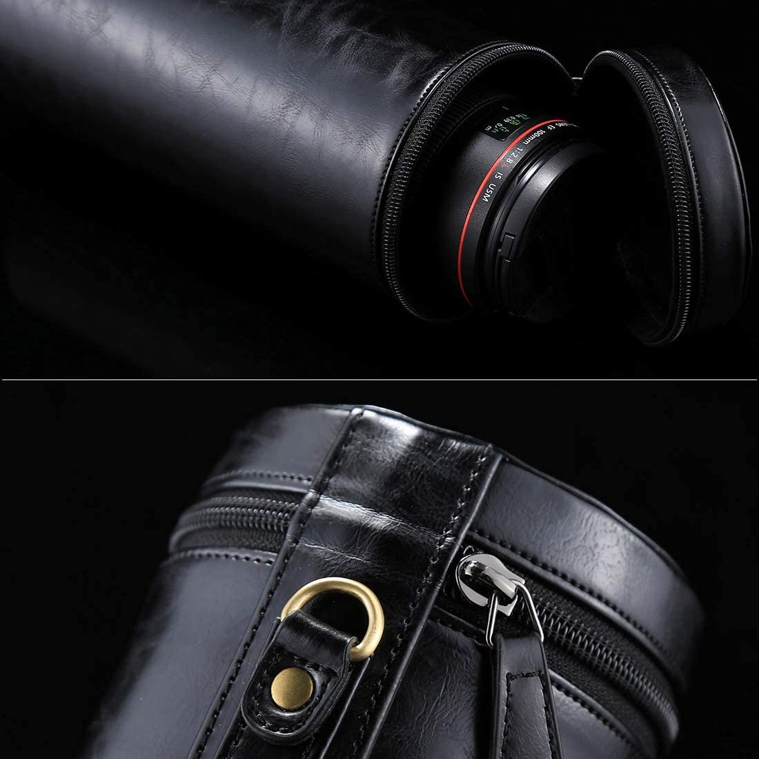 HUIFANGBU JHY Extra Large Lens Case Zippered PU Leather Pouch Box for DSLR Camera Lens Black Brown Size: 24.510.510.5cm Coffee Color : Black
