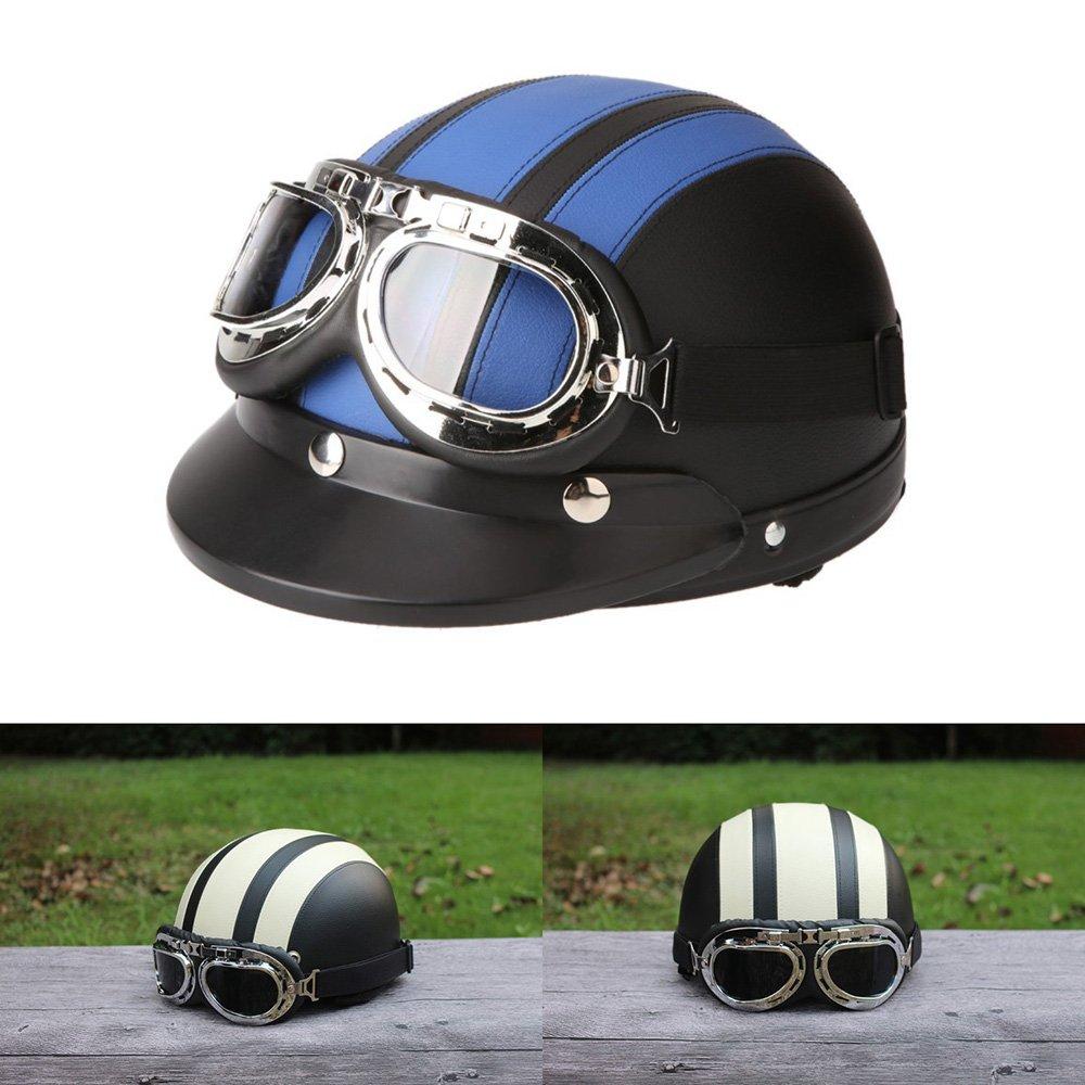 ViZe Helmet Bolt Halb Offenen Helm Motorrad Schutz Motorrad Unisex mit Visor und Schal 54-60cm (Braun) HV-HM-001