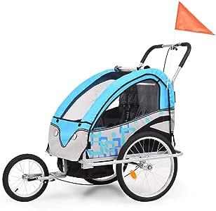 Remolque de bicicleta infantil 2 en 1 para niños de tela Oxford + marco de acero, máxima capacidad de carga 40 kg, para 2 niños: Amazon.es: Bebé