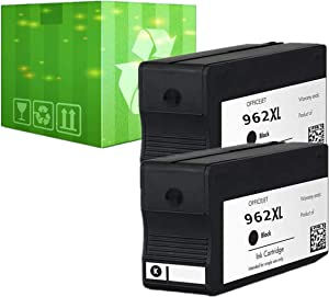 J2INK Remanufactured Black Ink Cartridge Replacement for HP 962XL 962 Ink Cartridge 2 Pack 3JA03AN OfficeJet Pro 9025 9020 9018 9015 9010