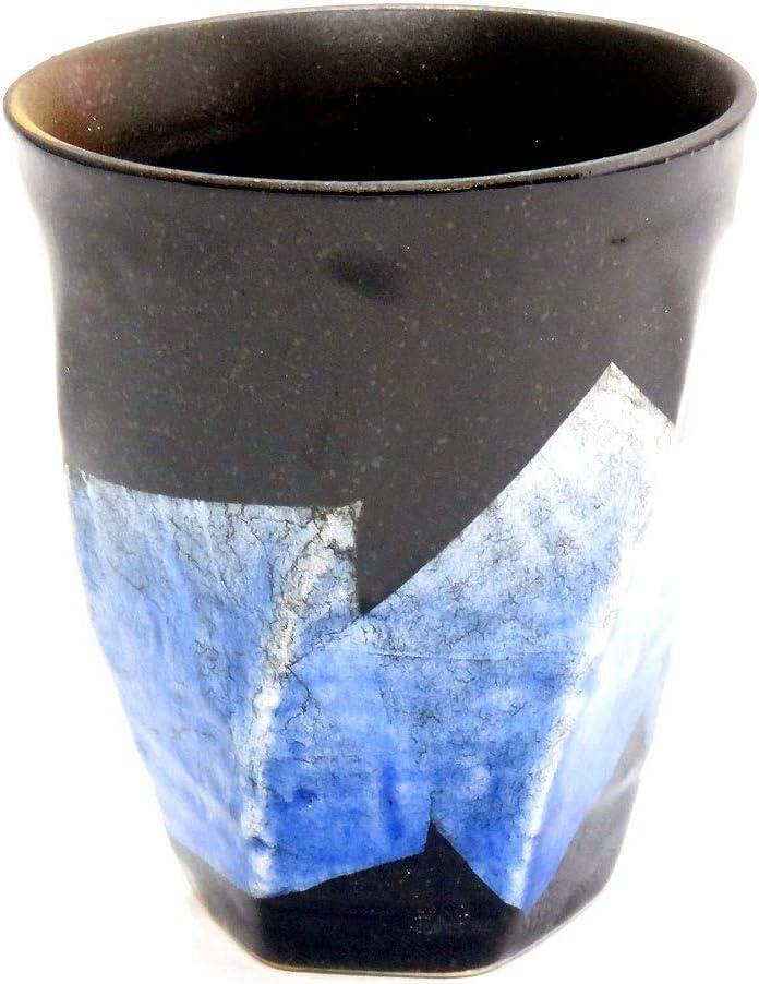 九谷焼 陶器の荒削り 焼酎グラス 銀彩(ブルー)