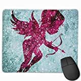 Computer Gaming Mouse Pad Pink Cupid Laptop Pad Non-Slip Rubber Stitched Edges 11.8 X 9.8 Inch