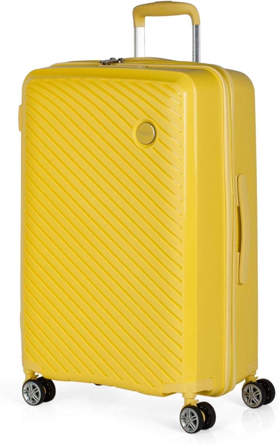 ITACA - Maleta de Viaje Mediana 4 Ruedas Trolley. 65 cm Rígida de Polipropileno. Resistente Práctica Cómoda Ligera Marca. Candado TSA. 760060, Color Amarillo