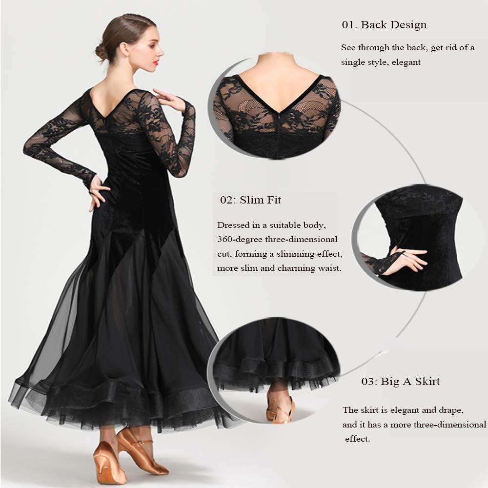 SCYTSD Prom Ballroom Dance Dresses-Spitze Lange Ärmel Tanzkleid Tanzkleid Tanzkleid Dancewear Rock Dress Kostüme Leotard Apparel und Accessoires für Frauen B07MCTTT2Y Bekleidung Gewinnen Sie hoch geschätzt 1b8dcc