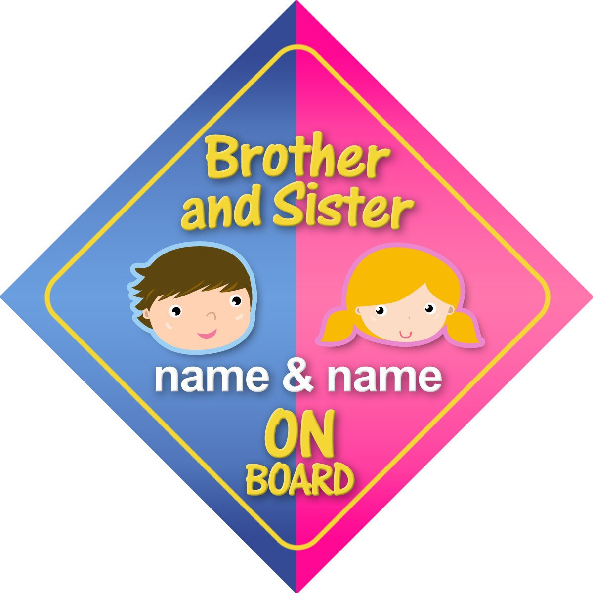 Brother And Sister On Board Personalised Car Sign New Baby / Child Gift / Present Quality Goods Ltd