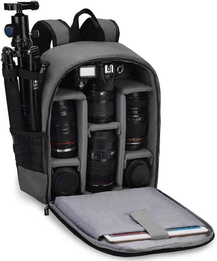 CADeN Camera Bag Backpack Grey Waterproof for DSLR Mirrorless Photographer Camera Case,with 1 Camera 4 Lens Tripod and Other Accessories,Compatible for Canon Sony Nikon for Women Men