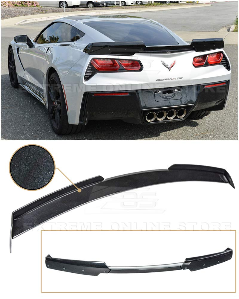 Carbon Fiber Extreme Online Store Replacement for 2014-2019 Chevrolet Corvette C7 All Models Z06 Z07 Stage 3 Style Rear Trunk Lid Wing with Smoke Tinted WickerBill Spoiler