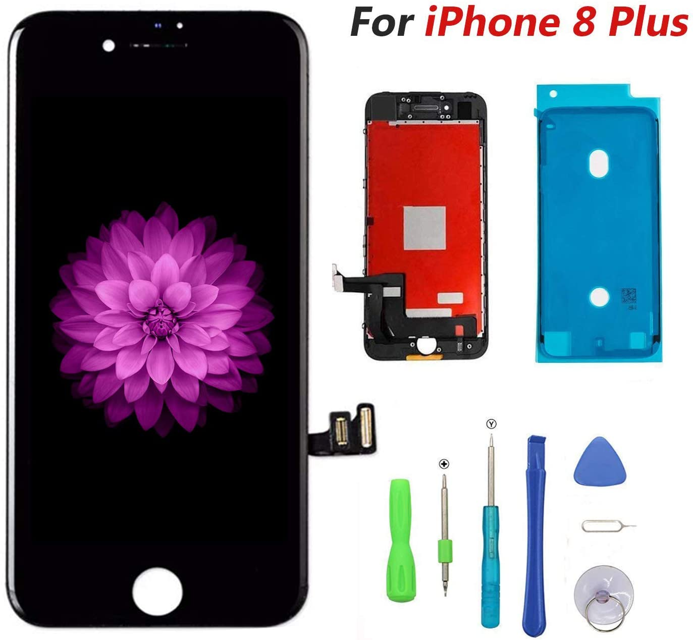 Compatible with iPhone 8 Plus Black 5.5 ,LCD Display /& Touch Screen Digitizer Frame Assembly Set with 3D Touch Free Repair Tool