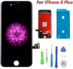 Compatible with iPhone 8 Plus Screen Replacement Black, FFtopu LCD Display & Touch Screen Digitizer Frame Assembly Set with 3D Touch Free Repair Tool(5.5''