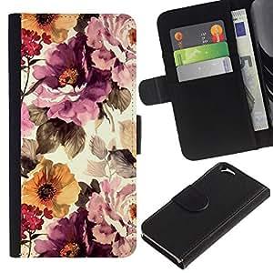 KingStore / Leather Etui en cuir / Apple Iphone 6 / Viñeta floral Sun Wallpaper;