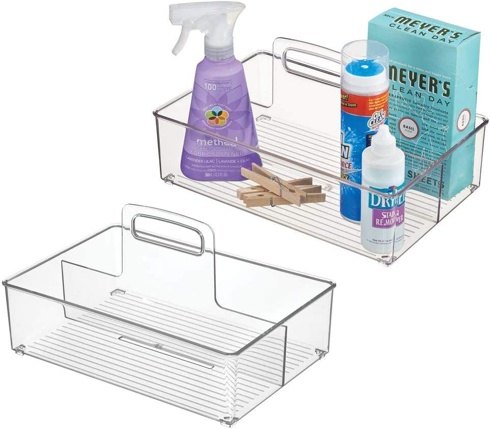 mDesign Plastic Portable Laundry Storage Tote with Carrying Handle for Detergent, Pods, Fabric Softener, Dryer Sheets, Clothes Pins, Household Cleaning Products and Accessories, Medium, 2 Pack - Clear