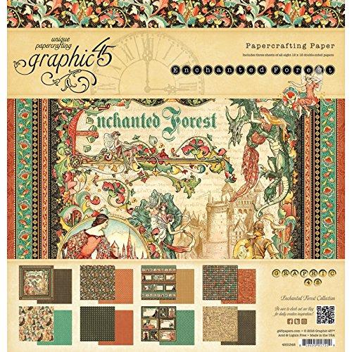 Graphic 45-Blocco di fogli Double-face di 30 x 30 cm, motivo: foresta incantata, 3 8 Each Of Designs 4501348