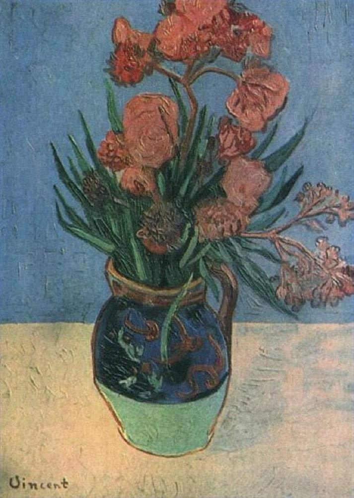手描き-キャンバスの油絵 - 静物 Vase with Oleanders フィンセントファンゴッホ 芸術 作品 洋画 ウォールアートデコレーション VVG2 -サイズ18 B07H7MMC4L  72 x 72 インチ