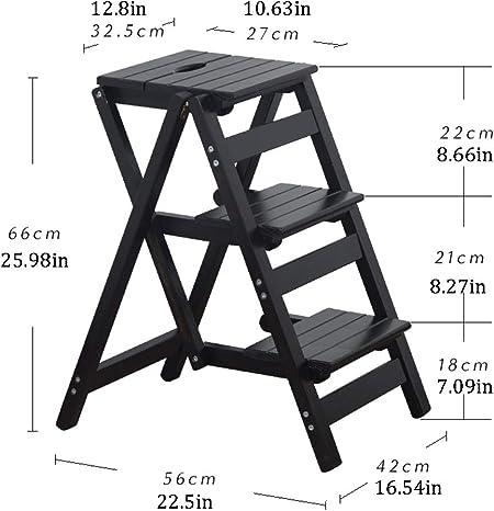 SJASD Escalera de Tijera Plegable Escalera Doméstica de Mano Ambos Lados 3 Peldaños Plegable portátil con peldaños Anchos,Negro: Amazon.es: Hogar