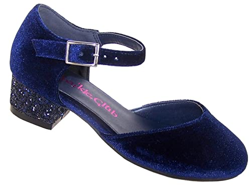 Baby Girls Ballerina Shoes Occasion Party Wedding Size UK 3.5-7  Navy Blue NEW