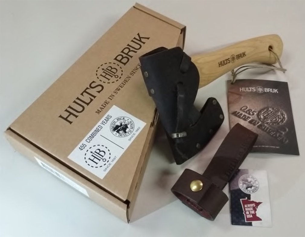 Hults Bruk Almike 16 Inch Hatchet with Sheath and Duluth Pack Axe Holder Bundle
