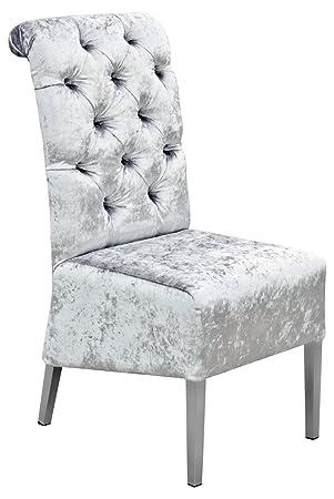 new concept 0a611 fa0af Febland Clarissa Dining Chair, Velvet, Silver, 47x59x100 cm ...