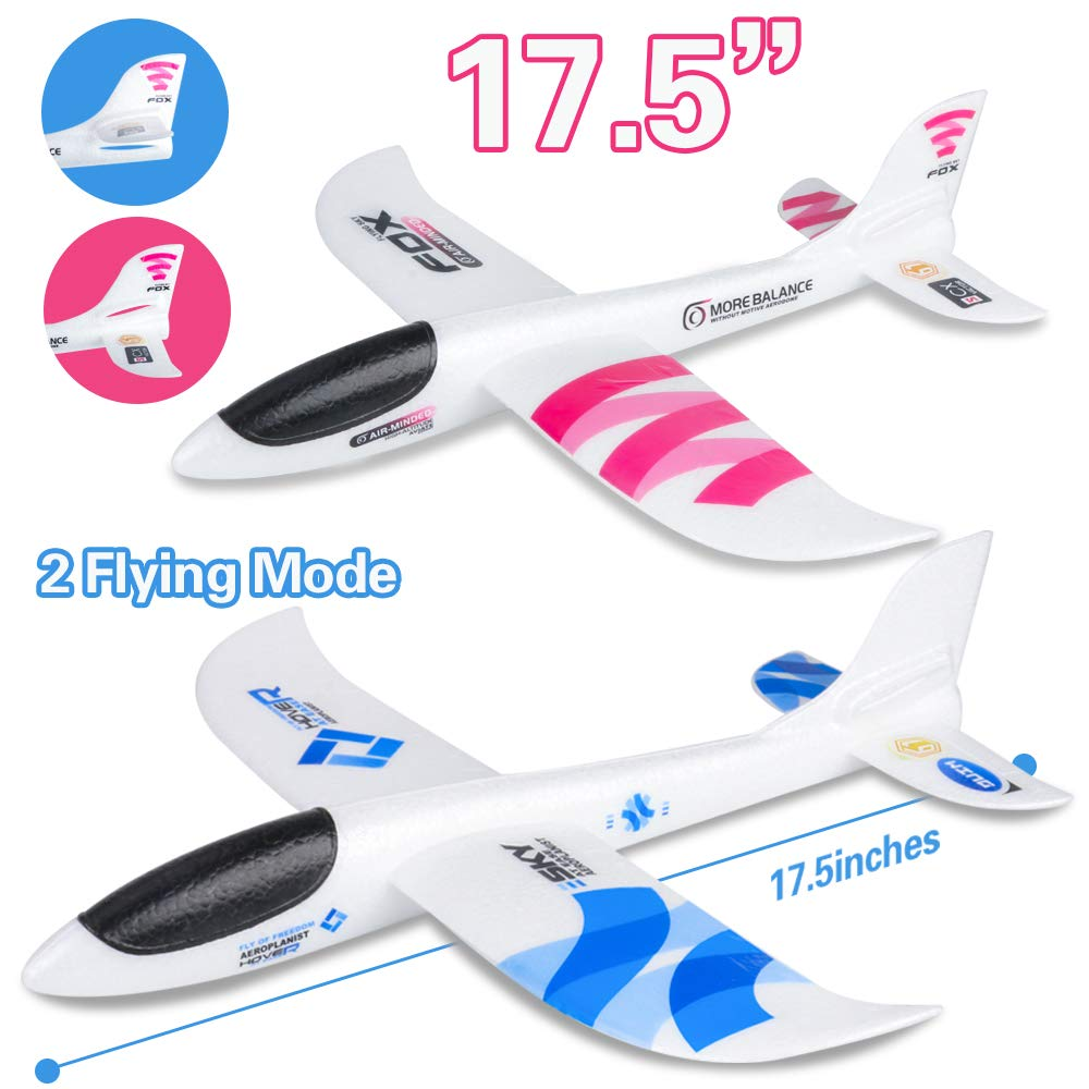 "BooTaa 2 Pack Airplane Toys, 17.5"" Large Throwing Plane, Outdoor Sport Toy, Foam Glider Aeroplane for 3 4 5 6 7 8 Year Old boy Toddlers, Kids Flying Game Toy, Styrofoam Airplanes, Gift for Kids"