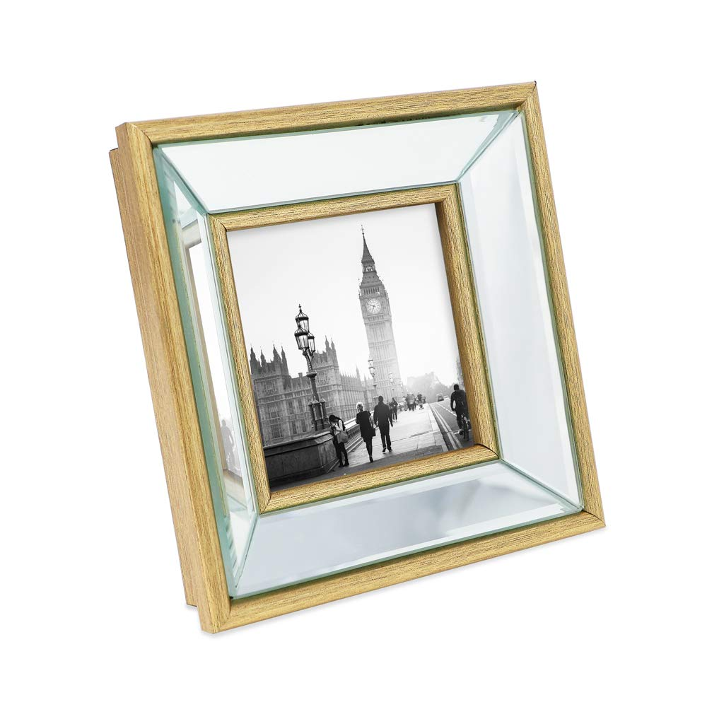 Isaac Jacobs 4x4 Gold Beveled Mirror Picture Frame - Classic Mirrored Frame with Deep Slanted Angle Made for Wall Décor Display, Photo Gallery and Wall Art (4x4, Gold) by Isaac Jacobs International