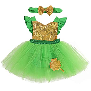 7c47c78d0a54 St.Patrick s Day Newborn Baby Girl Sequins Ruffle Green Tulle Tutu My 1st  ST.