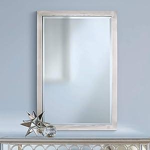 "Universal Lighting and Decor Metzeo 33"" x 22"" Brushed Nickel Wall Mirror - Possini Euro Design"