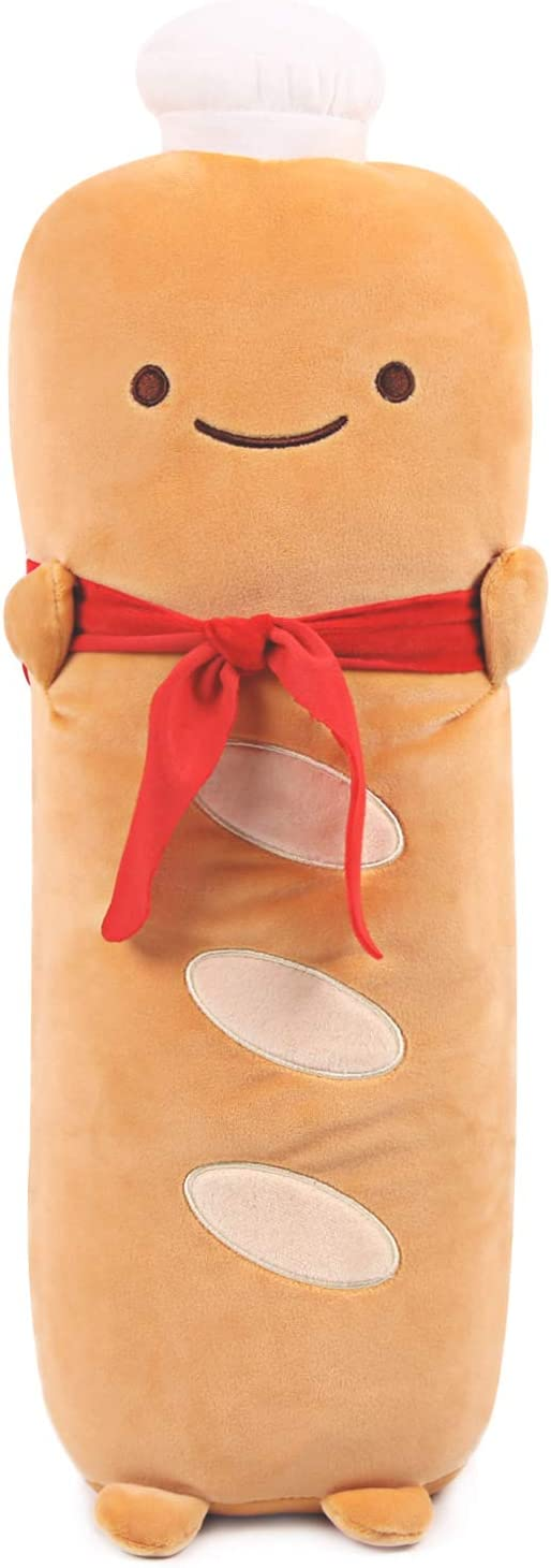 ARELUX 21.6'' Funny Toast Baguette Pillow,French Baguette Shape Plush Hugging Pillow with Red Scarf,Soft Toast Food Sofa Cushion for Home Decor,Gift for Kids Birthday, Valentine, Christmas