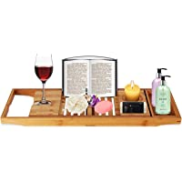 Other Bath Tray Bamboo Bathtub Caddy with Extending Sides, Mug Wineglass Smartphone Holder, Metal Frame Book Pad Tablet Holder, Detachable Sliding Tray, Non-Slip, 2724655674222, Brown
