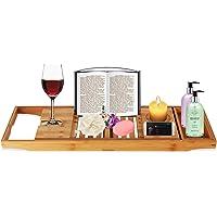 Bath Tray Bamboo Bathtub Caddy with Extending Sides, Mug Wineglass Smartphone Holder, Metal Frame Book Pad Tablet Holder, Detachable Sliding Tray, Non-Slip Rubber Base PREMIUM