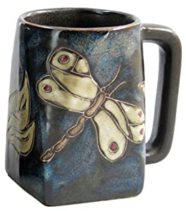 One (1) MARA STONEWARE COLLECTION - 12 Ounce Coffee or Tea Cup Collectible Square Bottom Mug - Dragonfly/Insects Design
