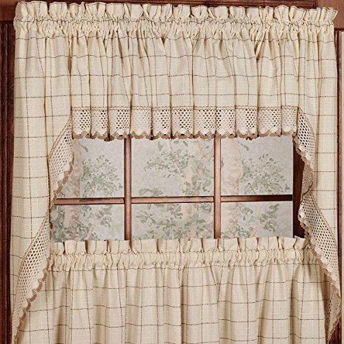 (Sweet Home Collection Kitchen Window Tier, Swag, or Valance Curtain Treatment in Stylish and Unique Patterns and Designs for All Home Décor, Adirondack Toast)