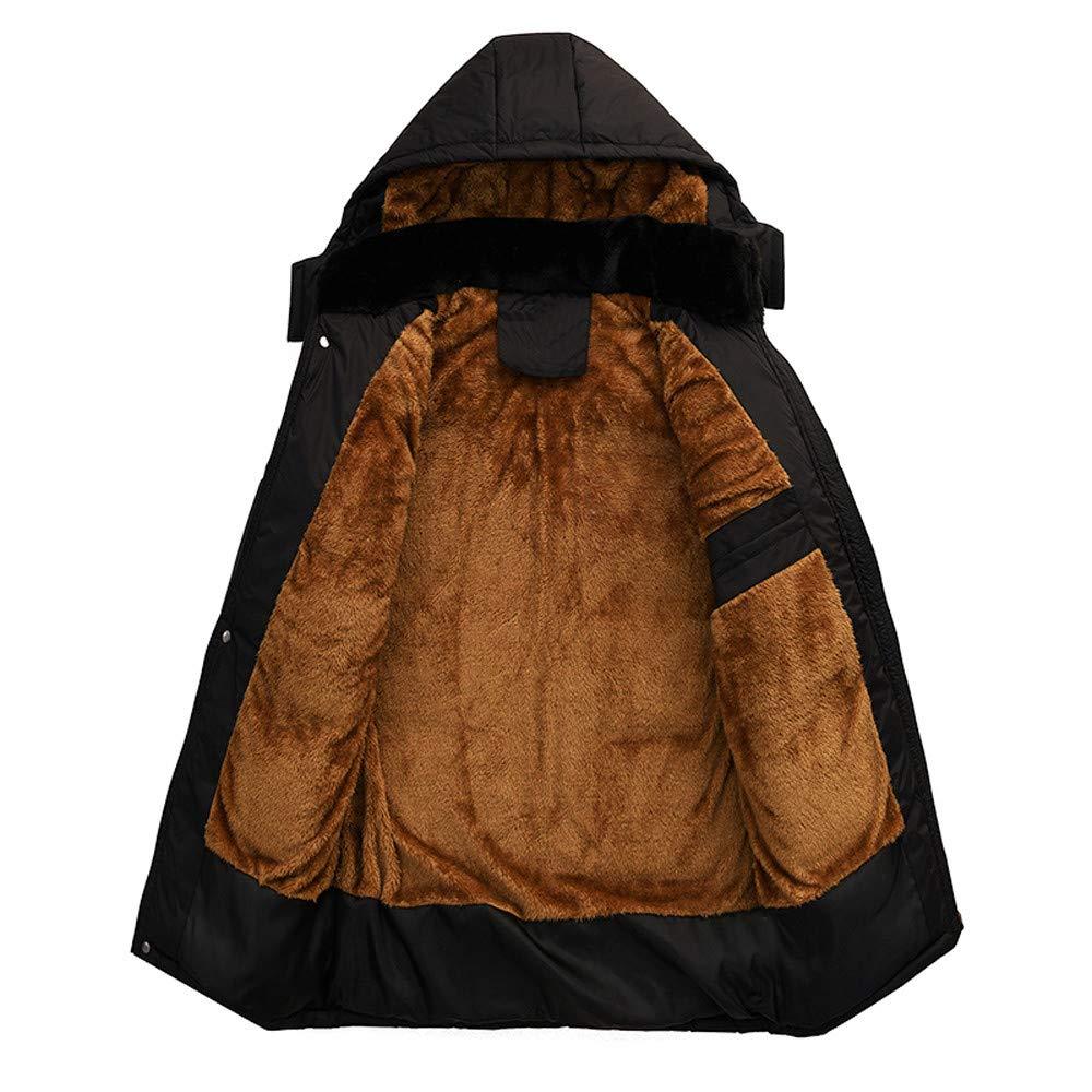 YanHoo Chaqueta con Capucha de algodón Grueso para Hombres Hombres Invierno Manga Larga cálida con Capucha Zip Grueso Abrigo de Lana Outwear Chaqueta de ...