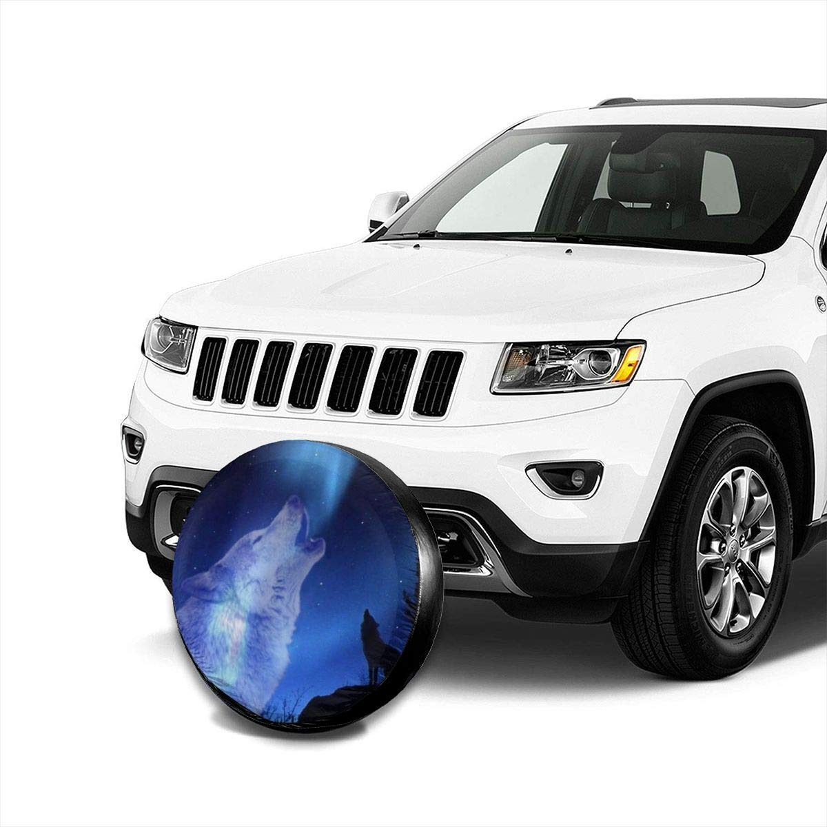 Howling Wolf Spare Tire Cover Wheel Cover Dust-Proof Waterproof Tire Cover Protection for Trailer RV SUV Truck Camper Travel 14 15 16 17