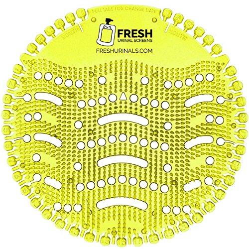 Urinal Screen Deodorizer (10 Pack) - Scent Lasts for Up to 5000 Flushes - Anti-Splash & Odor Neutralizer - Ideal for Bathroom, Restroom, Office, Restaurant, School - Yellow Lemon Fragrance