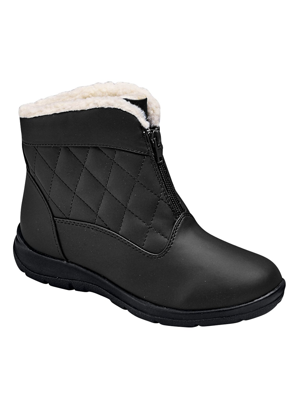 Carol Wright Gifts Quilted Boot, Black, Size 7 (Wide)