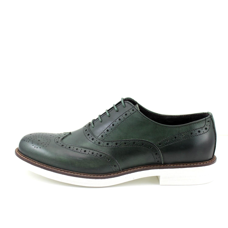 GIORGIO REA Herren Schuhe Oxfords Männliche Handgemachte Italienische mit Schuhe, Freizeitschuhe mit Italienische Schnürsenkeln, Modisch, Grün c90b66