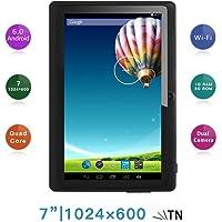 "Haehne 7"" Tablet PC, Google Android 6.0 Quad Core, 1G RAM 8GB ROM, Cámaras Duales 2.0MP + 0.3MP, 1024x600 HD Pantalla, WiFi, Bluetooth, Negro"