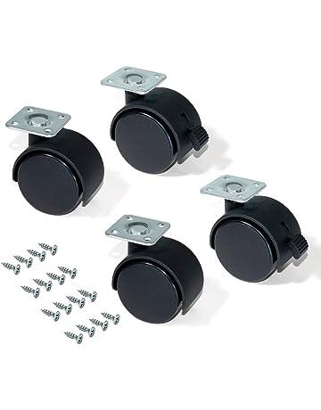 EMUCA - Ruedas para Muebles, Kit de 4 Ruedas giratorias gemelas Negras con Placa de
