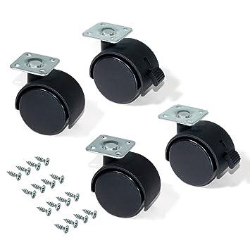 EMUCA - Ruedas para Muebles, Kit de 4 Ruedas giratorias gemelas Negras con Placa de Montaje, Ø 40mm: Amazon.es: Bricolaje y herramientas