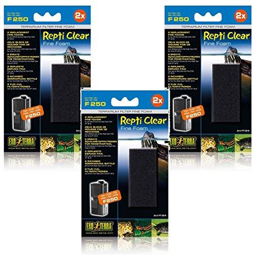 (3 Pack) Exo Terra Repti Clear 250 Fine Foam Filters, 2 Foams each