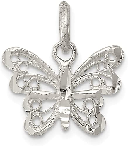 FB Jewels Solid 925 Sterling Silver Enamel KidS Butterfly Pendant